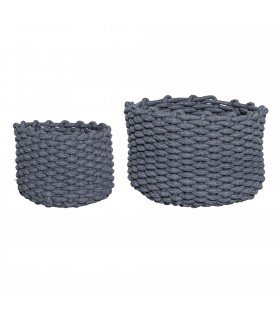 Brown fabric baskets (set of 2)