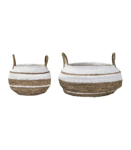 Basket white with handles Bloomingville (set of 2)