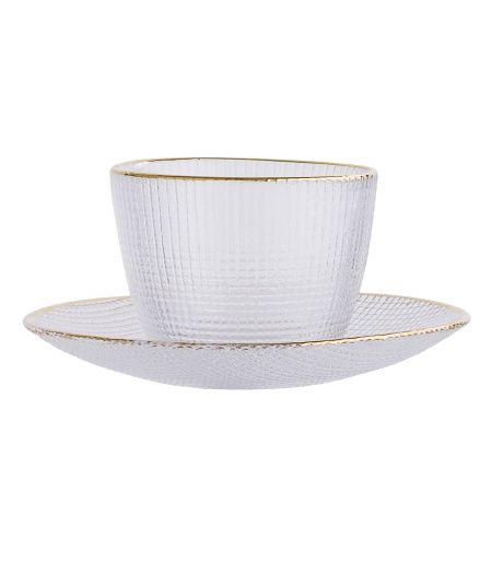 Cup white & gold with saucer Bloomingville X6