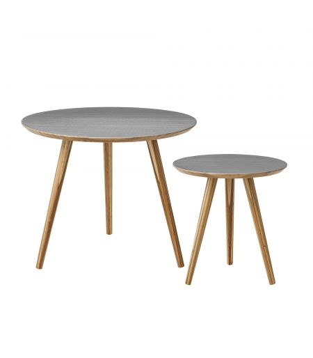 Assortment of 2 coffee tables grey Cortado Bloomingville