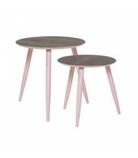 Assortiment de 2 tables basses roses Asta Bloomingville