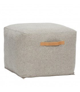 Round pouf in gray wool Hubsch