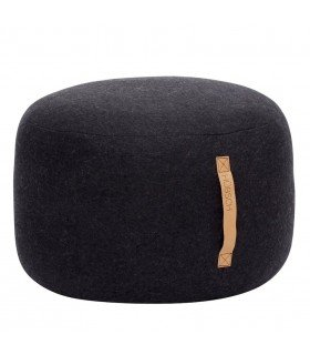 Pouf round dark gray wool Hubsch