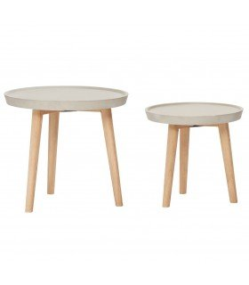 Table basse grise & bois (set de 2) Hubsch