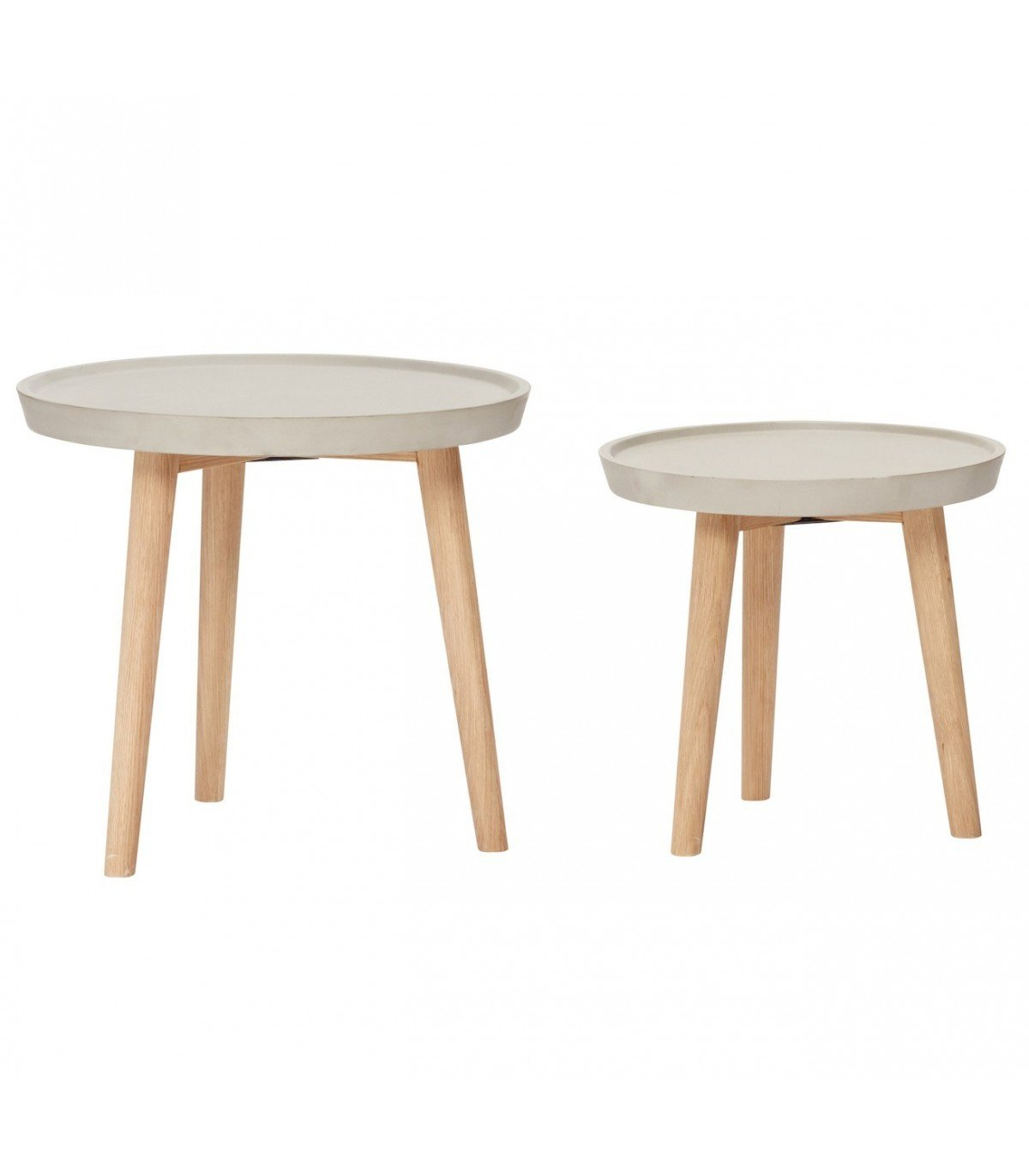 Table basse grise bois set de 2 hubsch - Table basse grise laquee ...