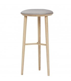Tabouret de bar gris & naturel Hubsch