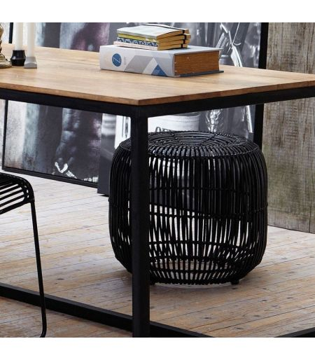 Black rattan stool HOUSE DOCTOR