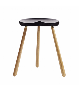 Wooden stool black and natural Muubs