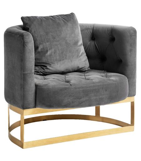 Armchair tufted Lounge grey Nordal
