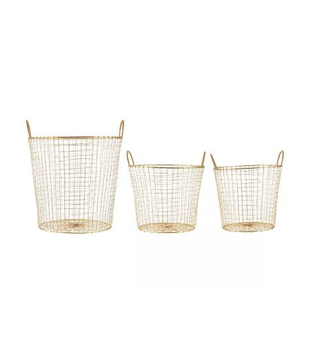 Wire baskets gold (Set of 3)