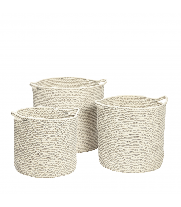 Round baskets in white cotton Hubsch