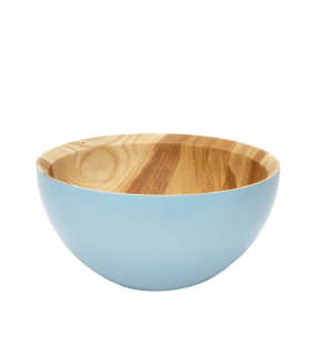 Natural wooden bowl and blue Hubsch