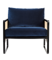 Fauteuil Cannage velours bleu marine Red Edition