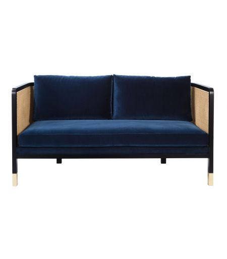 Sofa Canning S velvet navy blue Red Edition