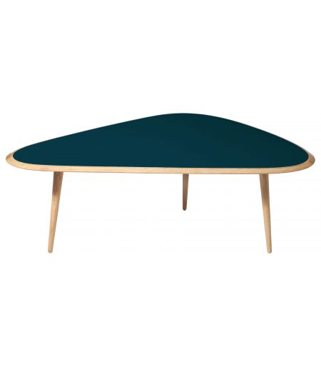 Table basse large laque bleu peacock Red Edition