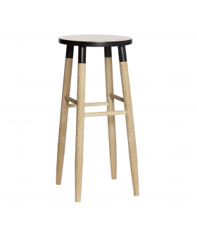 Stool black and natural bar Hbsch
