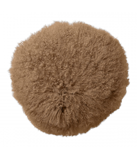 Coussin rond en fourrure d'agneau gris Bloomingville