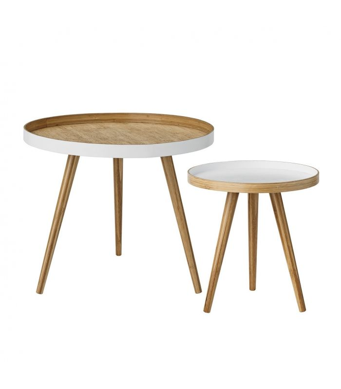 Tables basses bambou grises Bloomingville (set de 2)