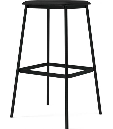facet high barstool Black leather & Black lacquered steel Bolia