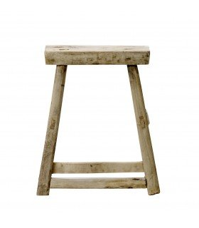 Wooden stool of solid elm Bloomingville