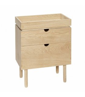 Dresser w 2 drawers & door oak nature 90x40xh70cm Hubsch