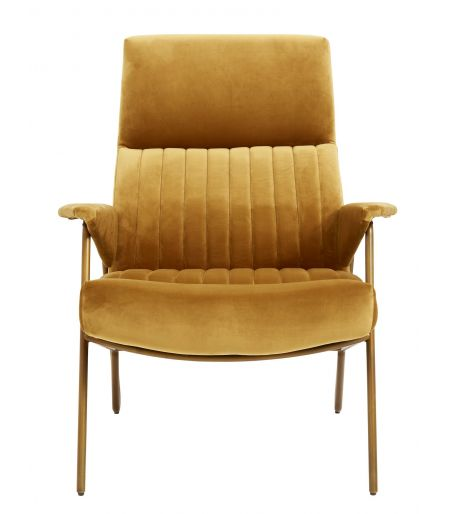 fauteuil velours moutarde Nordal