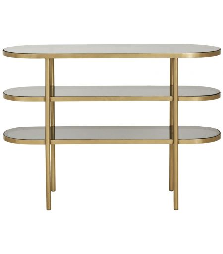 Console 3 levels in black glass and golden Nordal
