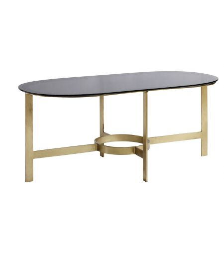 Coffee Table oval-brass with black glass Nordal