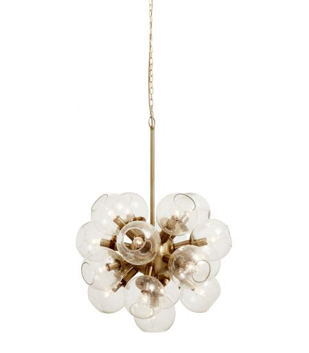 Suspension lamp with 17 bright lights ATOMIC, golden Nordal
