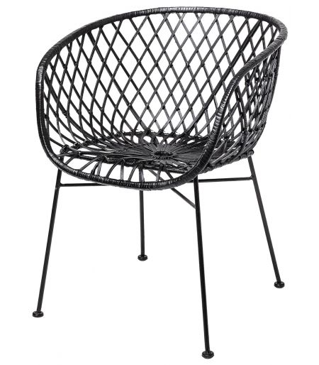 Lounge chair in rattan with black Bloomingville