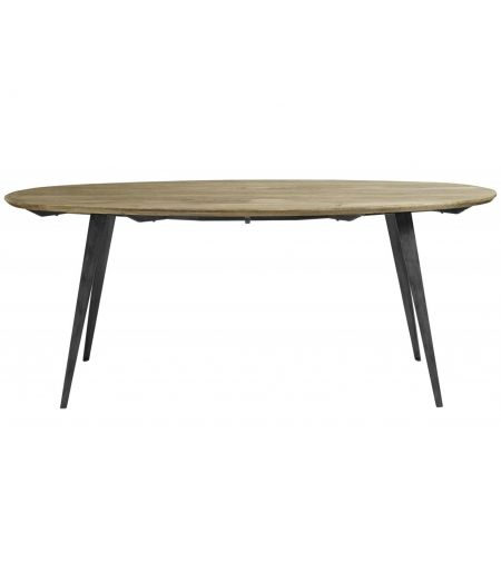 Dining Table Oval Wood and Metal Nordal