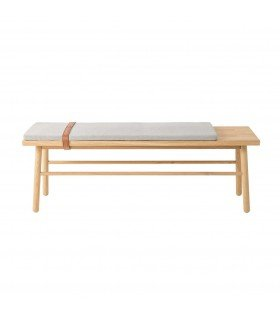 Bench in oak with leather tie Bloomingville