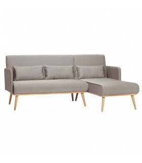 Sofa for 2 people wooden legs fabric grey 160x81xh82cm Hubsch