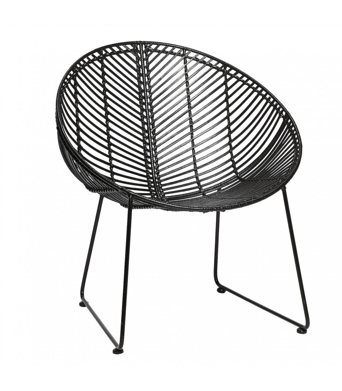 Hbsch Round Black Rattan Chair