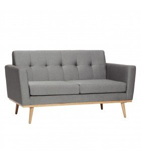 Sofa for 2 people wooden legs gray fabric 160x81xh82cm Hubsch