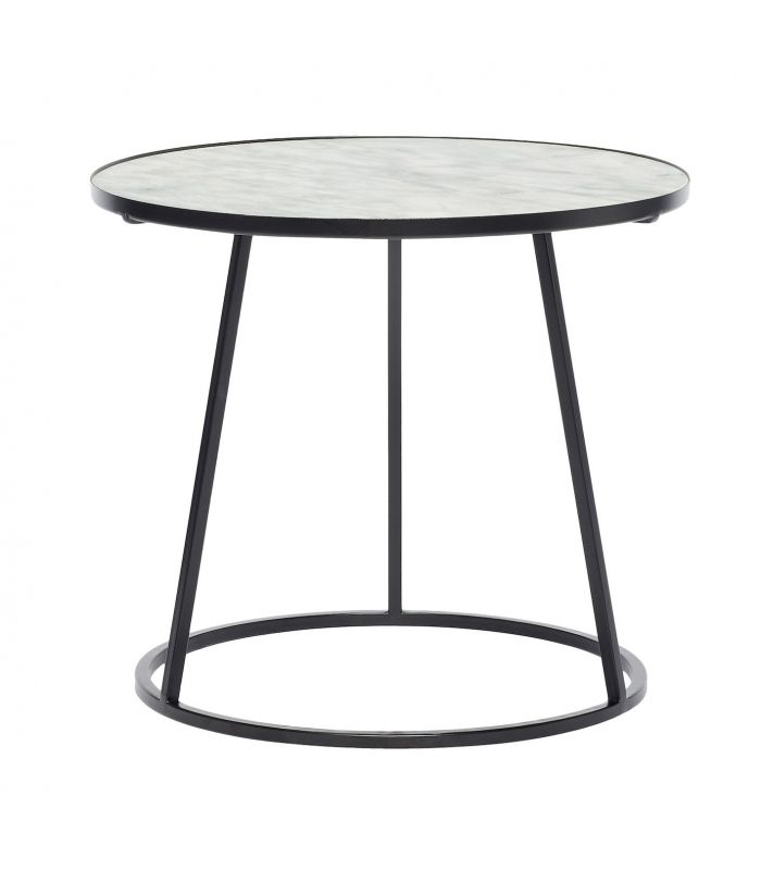 Table basse m tal noir et marbre blanc h bsch for Table noir et blanc