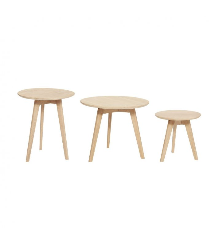 Table round oak iron nature white s 2 ø40xh4 Hubsch