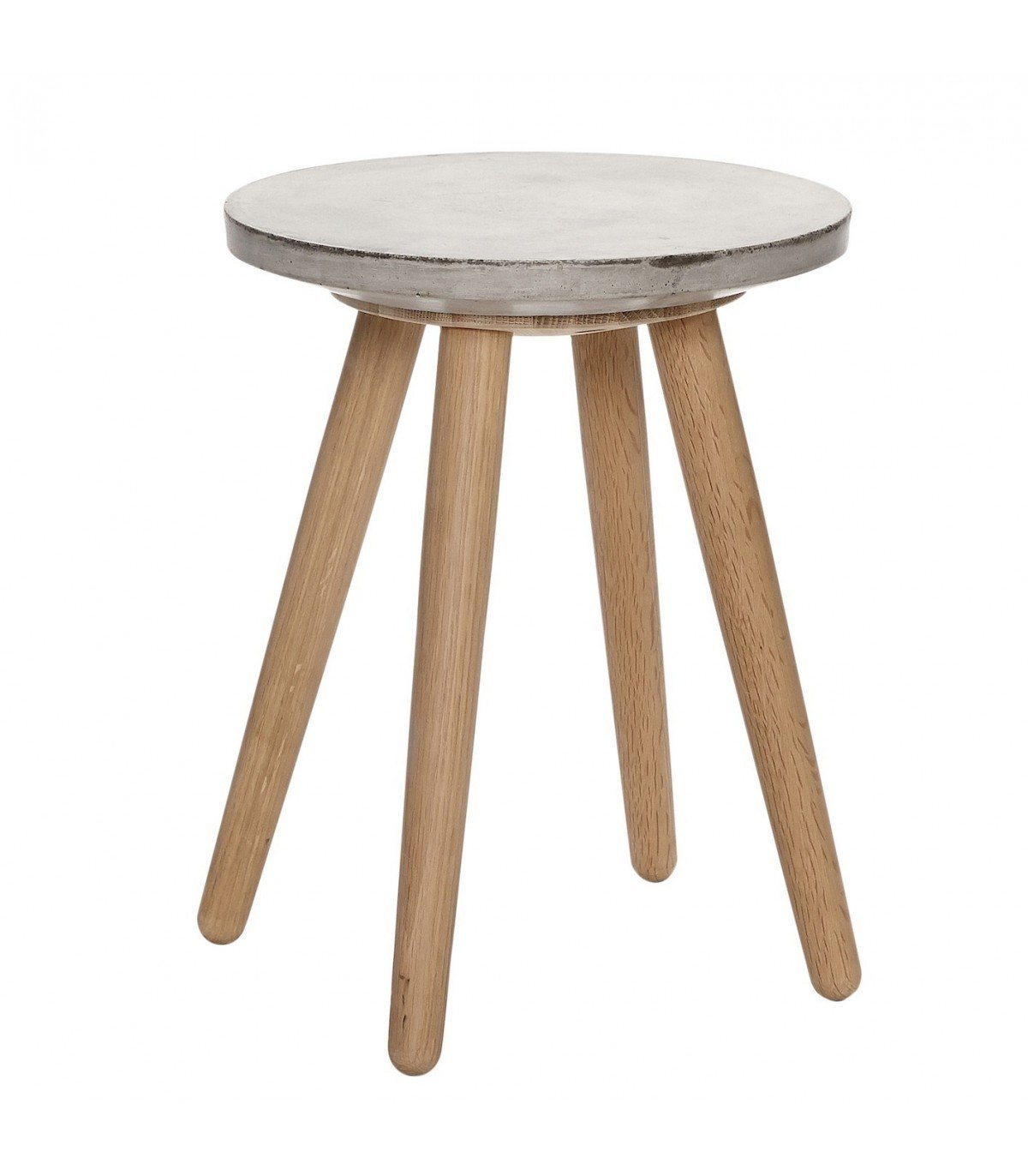 Table basse ch ne et b ton petite h bsch for Petite table basse ronde