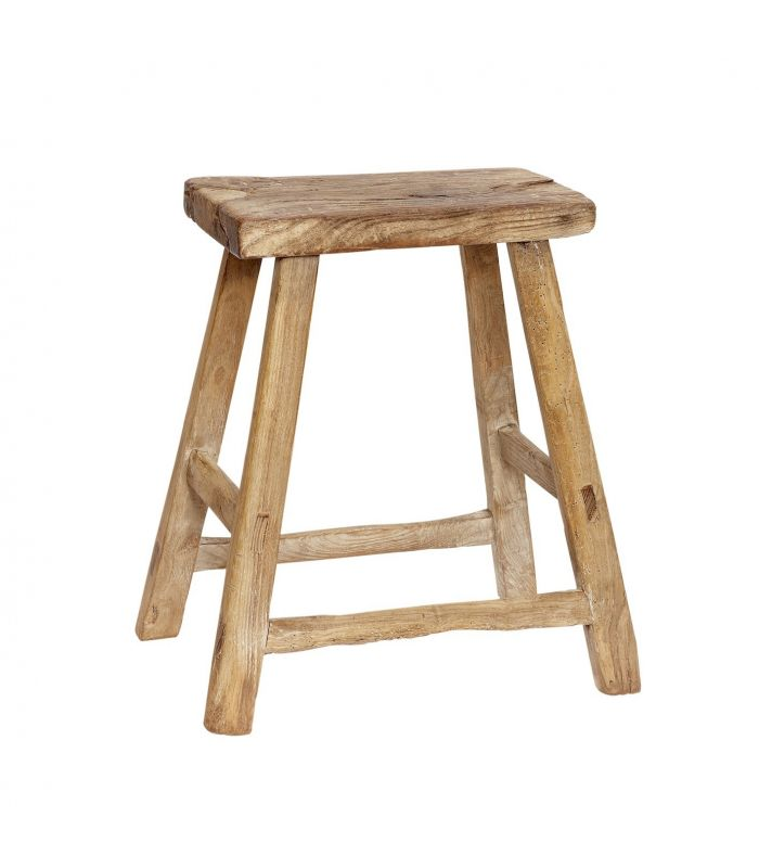 Elm wood stool rectangular Hubsch