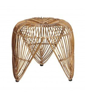Rattan stool and black metal Hübsch