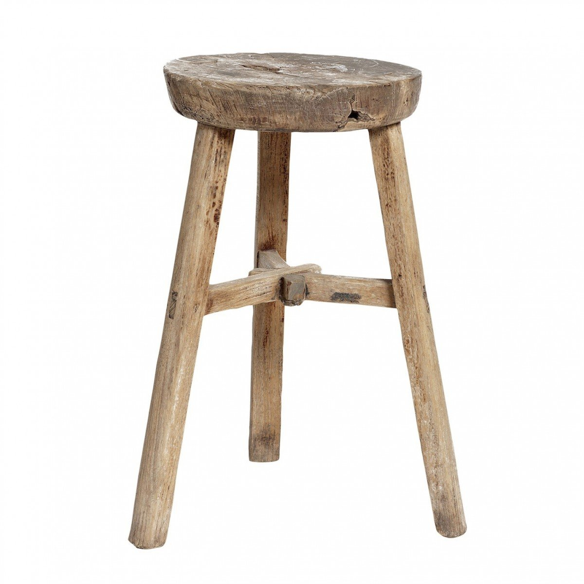 Stool ...  sc 1 st  French Rosa & Round wooden stool elm Hubsch islam-shia.org
