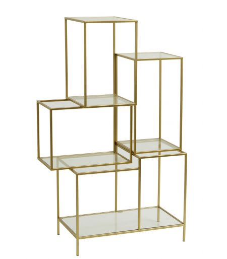 Shelf in glass and gold metal Nordal