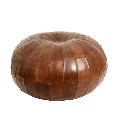 Pouf in leather, round, brown