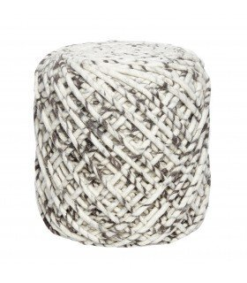 Pouf round knitted wool dark grey ø41xh45c Hubsch
