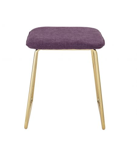 Velvet purple and metal gold are the hallmarks of this stool design