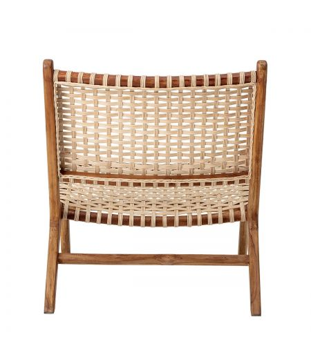 Chair in teak and wicker