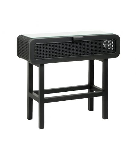 Console in teak and canning rattan black