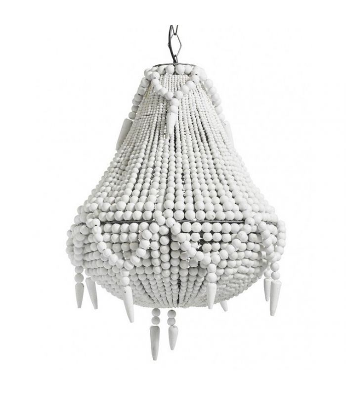 Chandelier white wooden beads Nordal