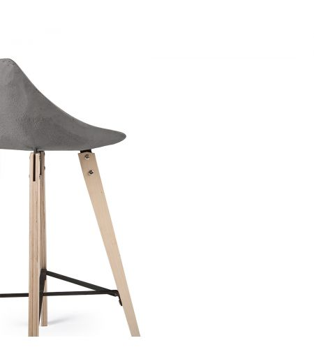 HAUTEVILLE counter chair with wooden legs Lyon Béton