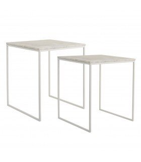 Table en bois naturel et blanche Bloomingville